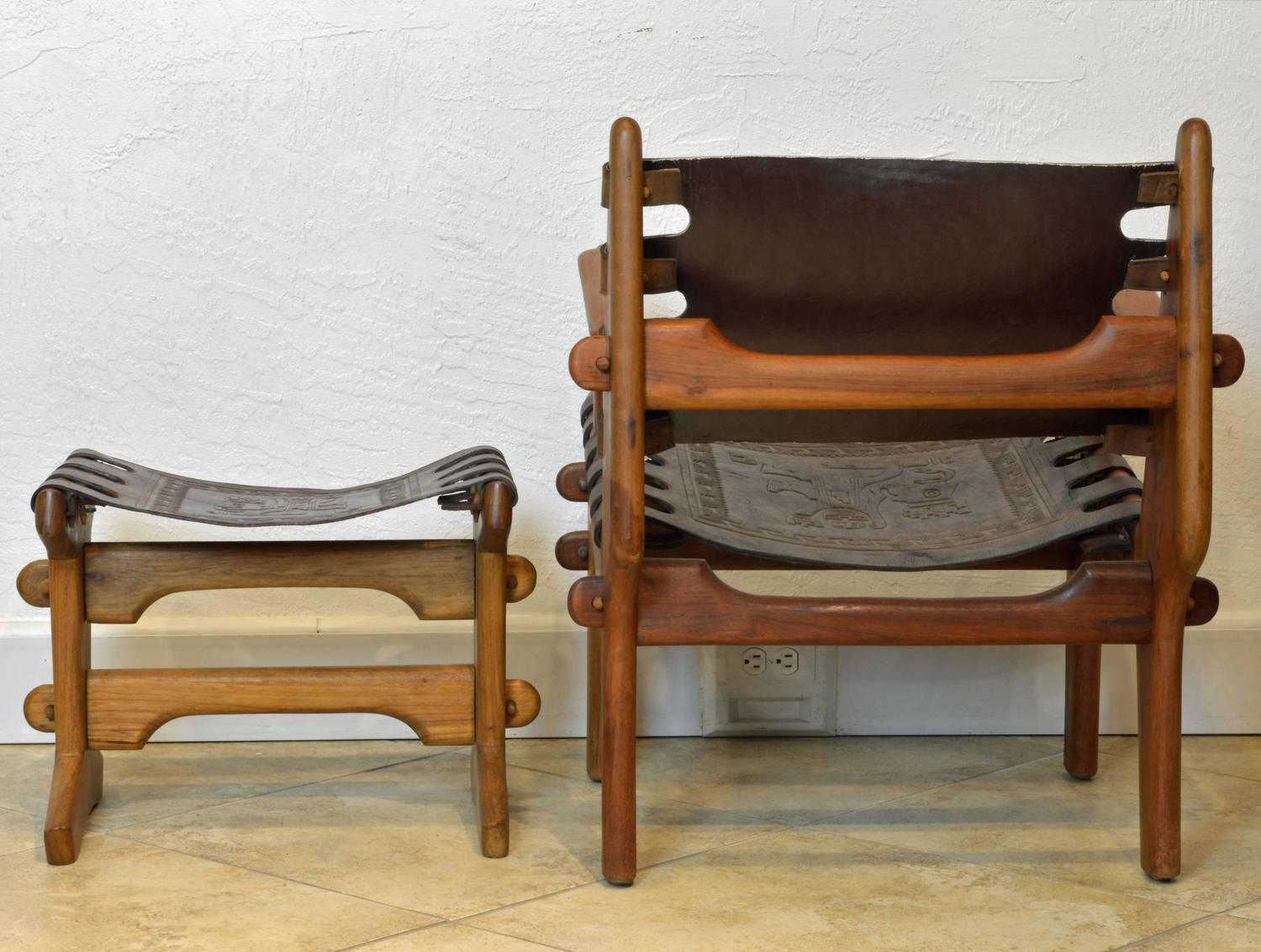 Mid Century Modern Wood and Leather Chair and Footstool by