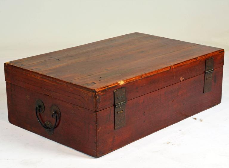 Measuring 20 x 31 x 10inches this chest will also on a stand make a great coffee table. The chest features a pure design with original shaped and engraved lock plate and handles. It is retaining some of the original red lacquer and gilt making the