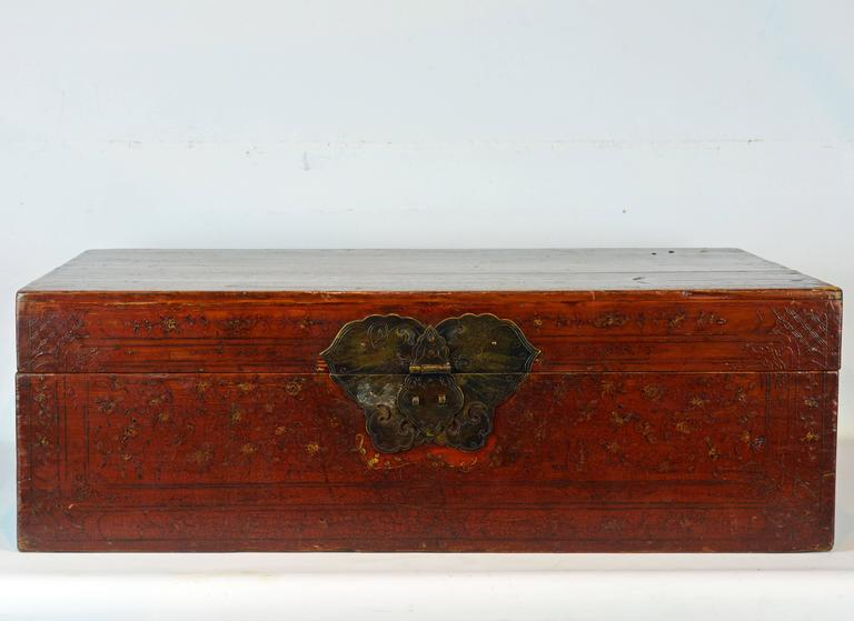 Lacquered Large 19th Century Chinese Wood and Red Lacquer Storage Chest or Trunk For Sale