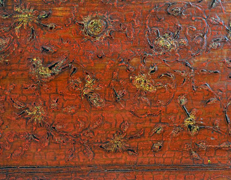 Brass Large 19th Century Chinese Wood and Red Lacquer Storage Chest or Trunk For Sale