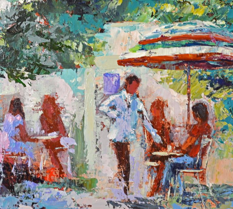 Modern 'The French Village Cafe' Large Impressionist Work by Mark King For Sale