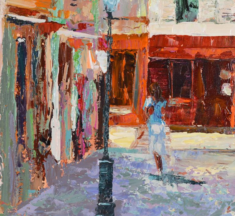 American 'The French Village Cafe' Large Impressionist Work by Mark King For Sale