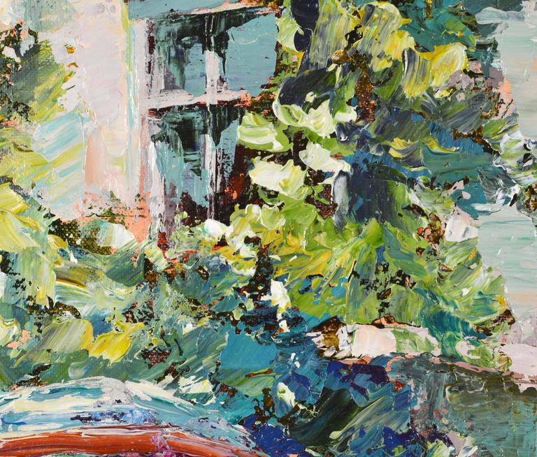 Gilt 'The French Village Cafe' Large Impressionist Work by Mark King For Sale