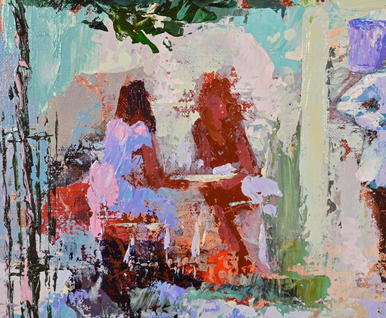 'The French Village Cafe' Large Impressionist Work by Mark King In Good Condition For Sale In Ft. Lauderdale, FL