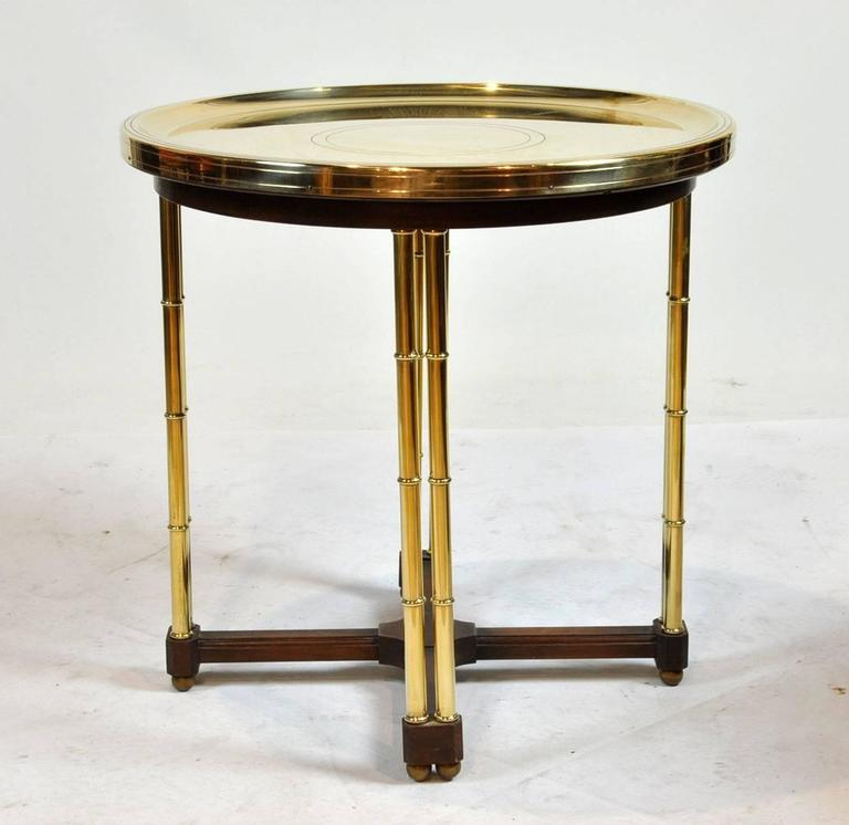 Vintage Brass Dish Top End Table With Faux Bamboo Legs 2