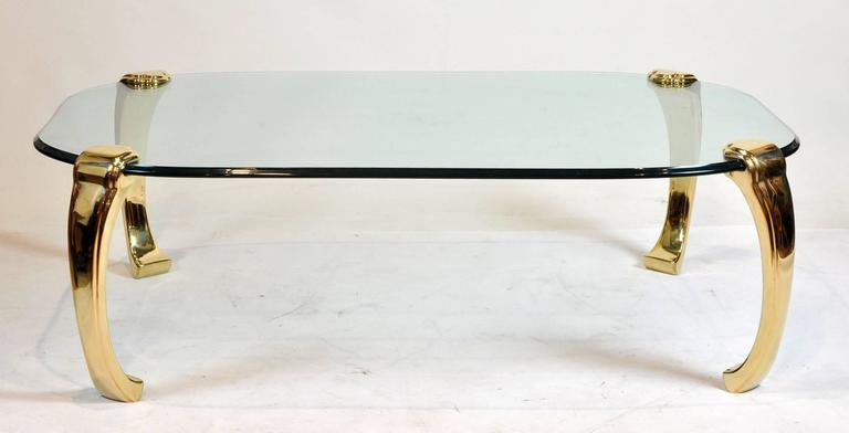 mid-century modern ming inspired hollywood regency glass and brass