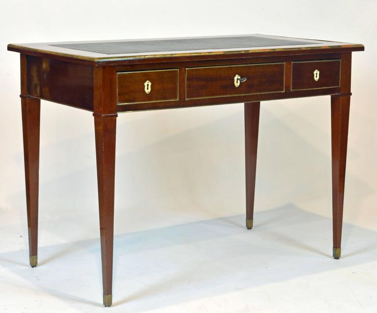 19th Century French Directoire Three-Drawer Figured Mahogany Writing Desk 4