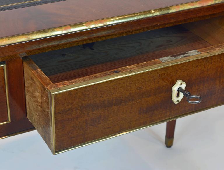 19th Century French Directoire Three-Drawer Figured Mahogany Writing Desk 6