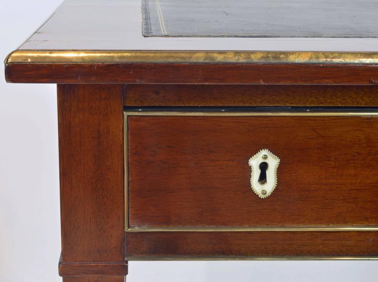 19th Century French Directoire Three-Drawer Figured Mahogany Writing Desk 8