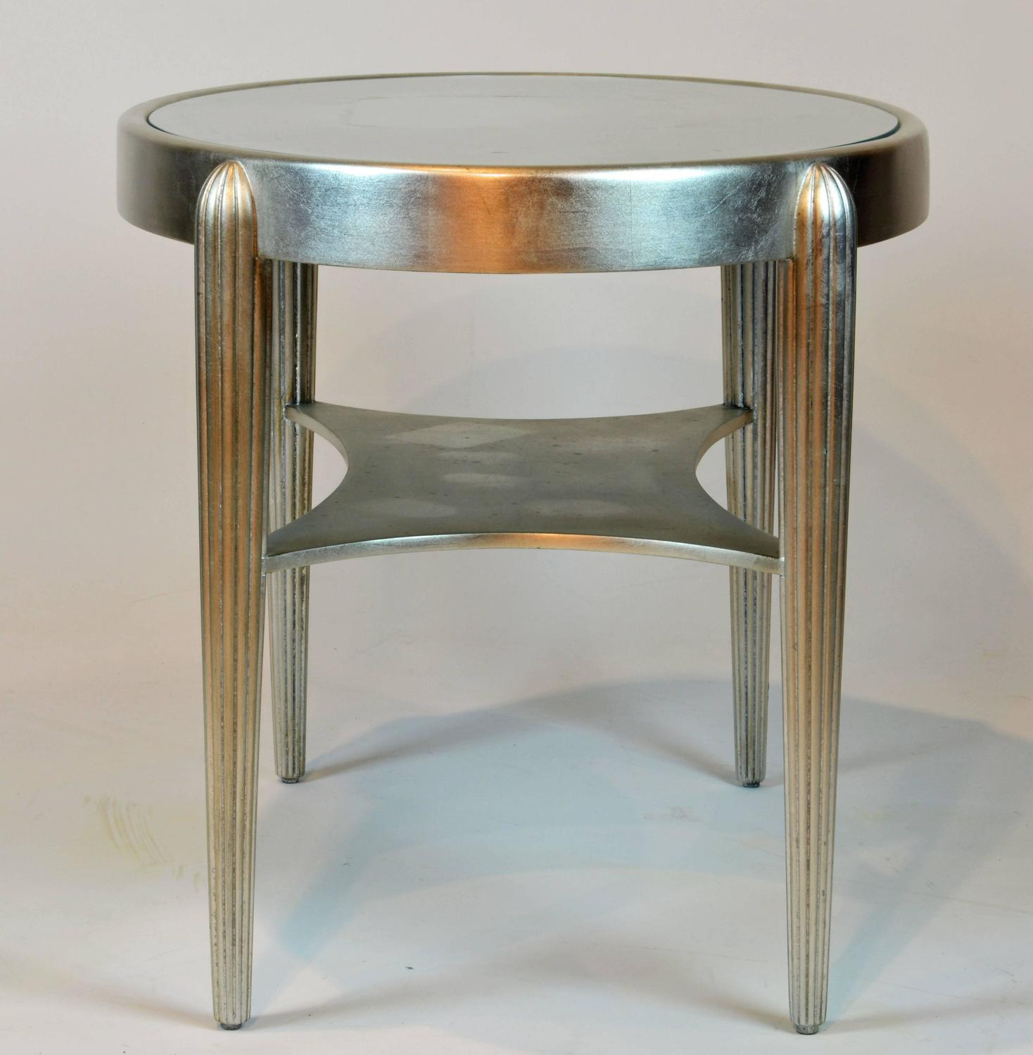Vintage deco style modern oval silvered two tier cocktail for Contemporary glass cocktail tables