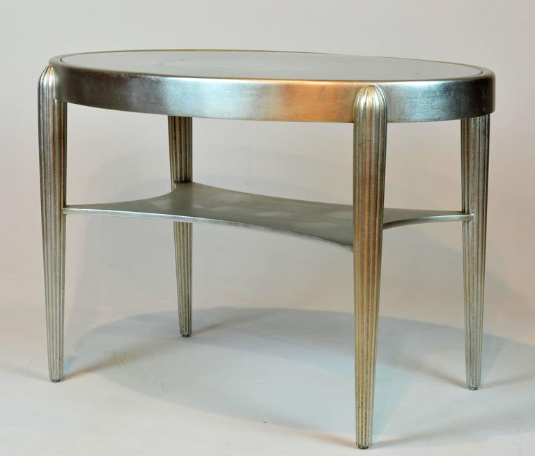 Vintage Deco Style Modern Oval Silvered Two-Tier Cocktail