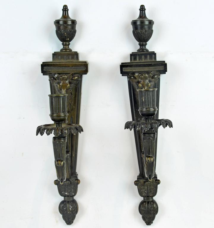 Wall Candle Sconces Bronze : Pair of 19th Century French Neoclassical Lions Head Bronze Wall Candle Sconces at 1stdibs