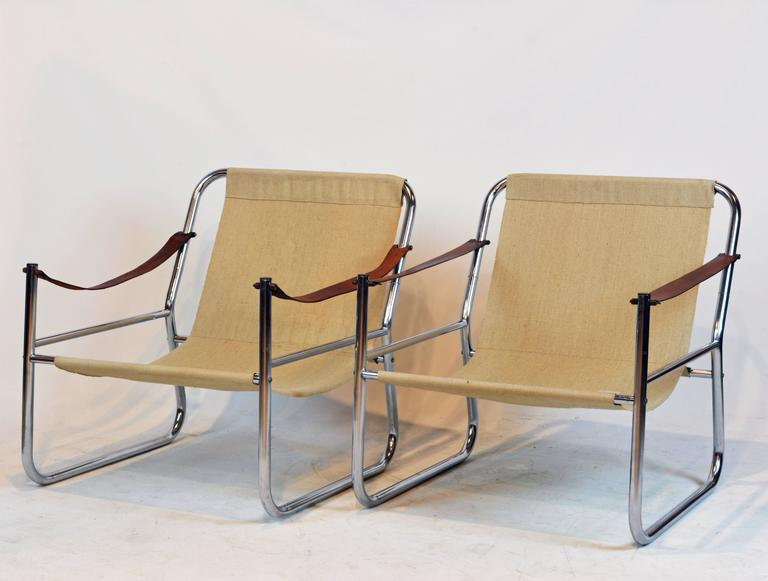 Image of: Safari Style Furniture Intended American Pair Of Midcentury Modern Chrome And Leather Straps Safari Style Lounge Chairs For