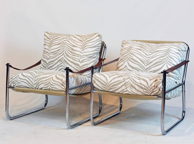 Pair Of Mid Century Modern Chrome And Leather Straps Safari Style Lounge  Chairs 2