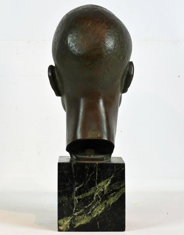 Large Art Deco Bronze Bust of a Young Man by Henry Paquet, Swiss, 1898-1975 In Good Condition For Sale In Ft. Lauderdale, FL