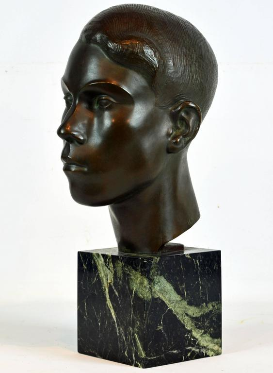 Modern Large Art Deco Bronze Bust of a Young Man by Henry Paquet, Swiss, 1898-1975 For Sale