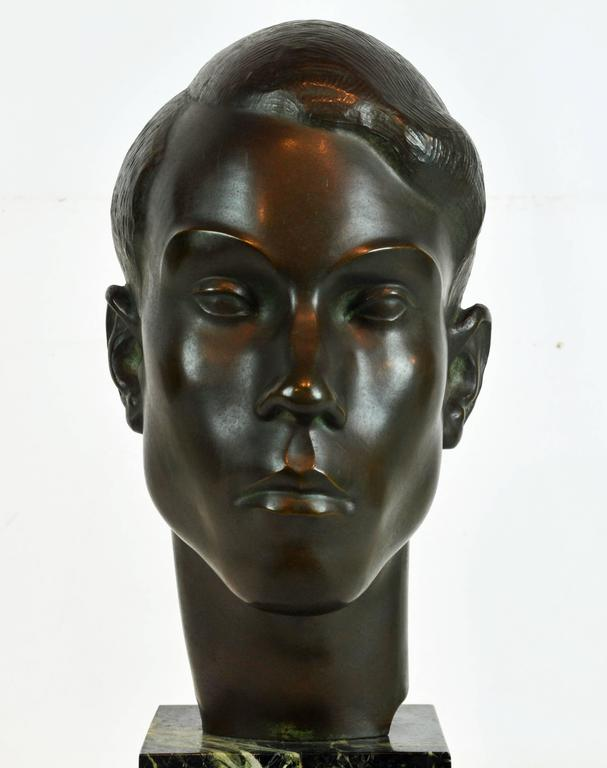 20th Century Large Art Deco Bronze Bust of a Young Man by Henry Paquet, Swiss, 1898-1975 For Sale