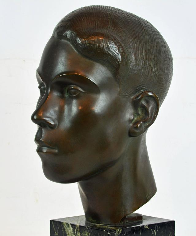 Large Art Deco Bronze Bust of a Young Man by Henry Paquet, Swiss, 1898-1975 For Sale 1