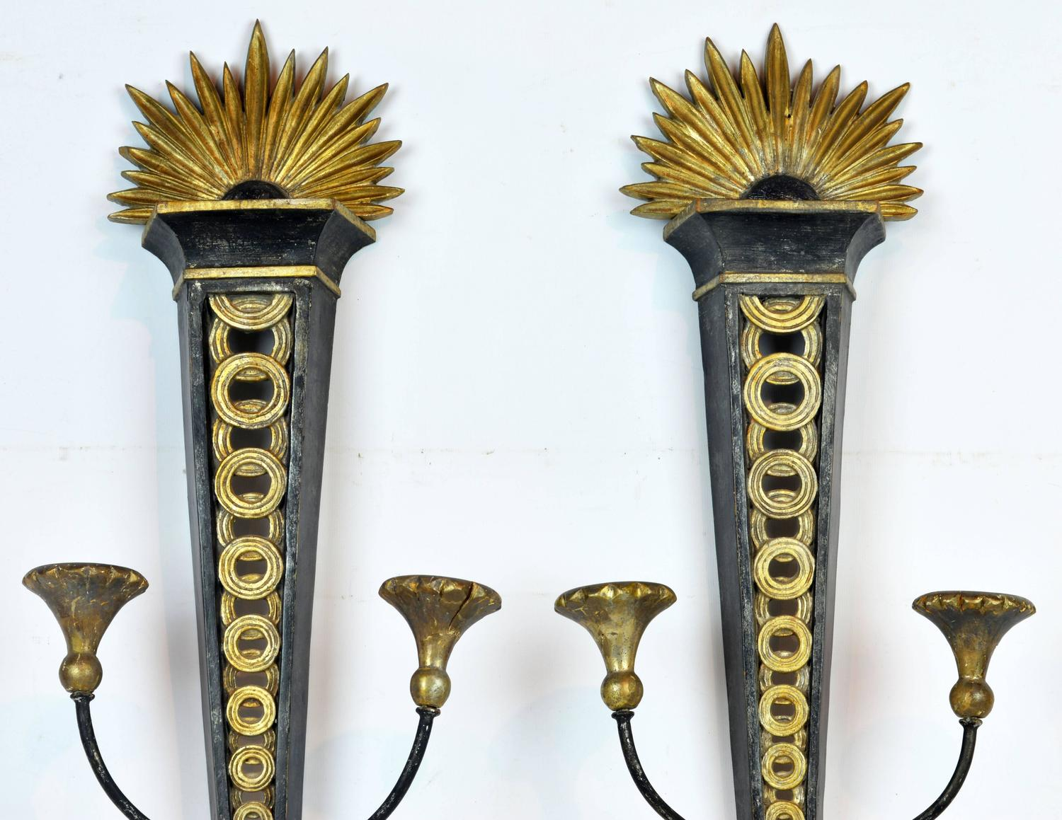Italian Style Wall Sconces : Pair of Mid-Century Neoclassical Style Italian Palladio Wall Sconces for Candles For Sale at 1stdibs