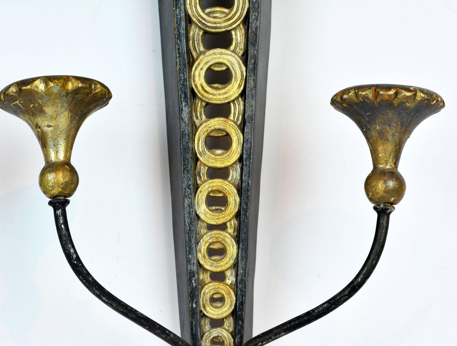 Italian Candle Wall Sconces : Pair of Mid-Century Neoclassical Style Italian Palladio Wall Sconces for Candles For Sale at 1stdibs