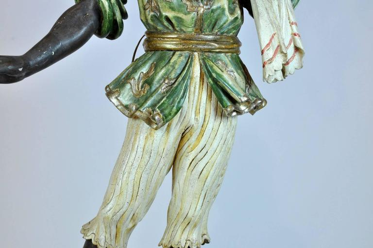 Italian Carved Polychrome Paint and Parcel-Gilt Blackamoor Torchiere Candelabra 8