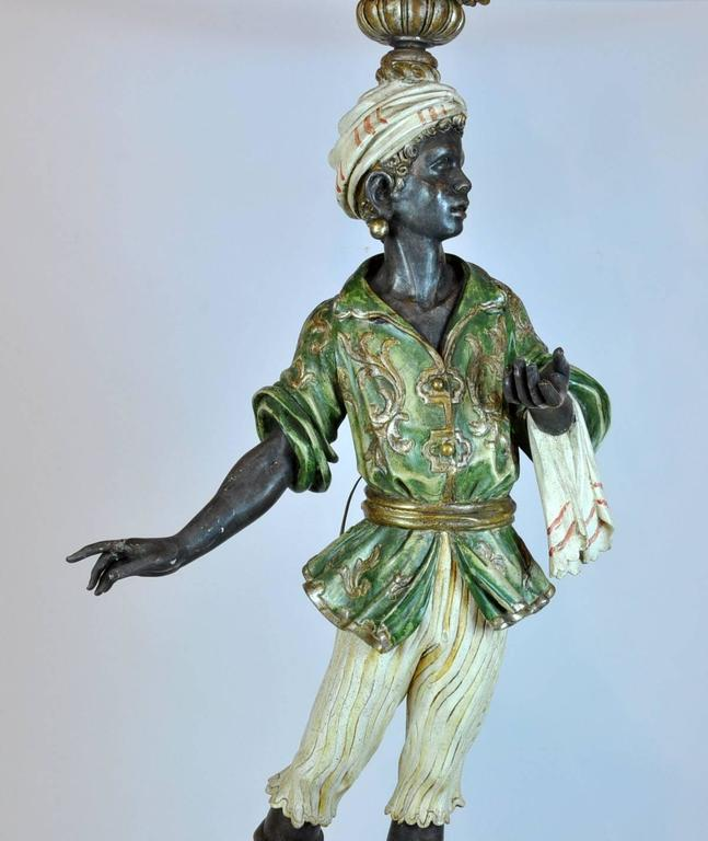Italian Carved Polychrome Paint and Parcel-Gilt Blackamoor Torchiere Candelabra 3