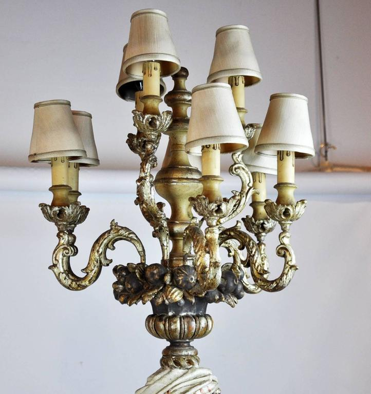 Italian Carved Polychrome Paint and Parcel-Gilt Blackamoor Torchiere Candelabra 9