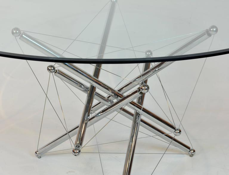 Modern Italian Cassina Chrome and Glass Atomic Style Dining Table by Theodore Waddell For Sale