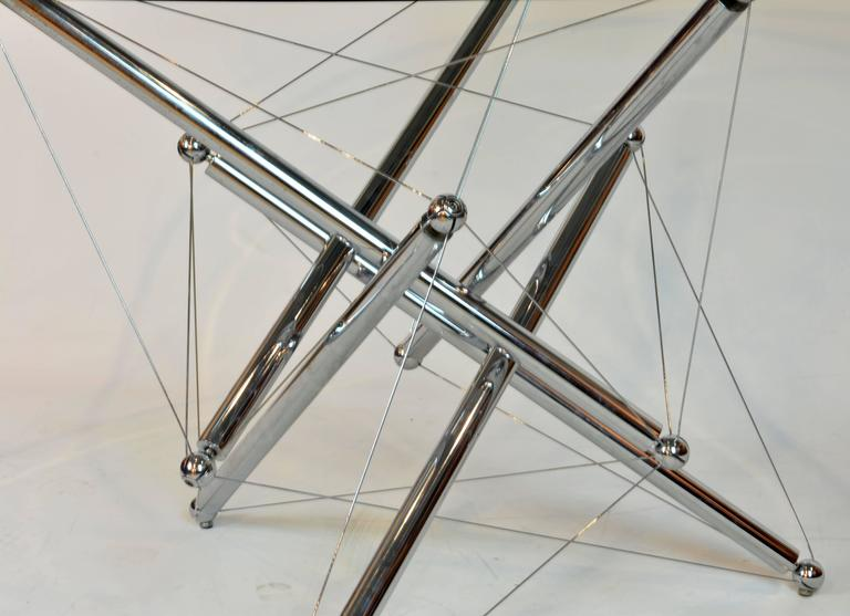 20th Century Italian Cassina Chrome and Glass Atomic Style Dining Table by Theodore Waddell For Sale