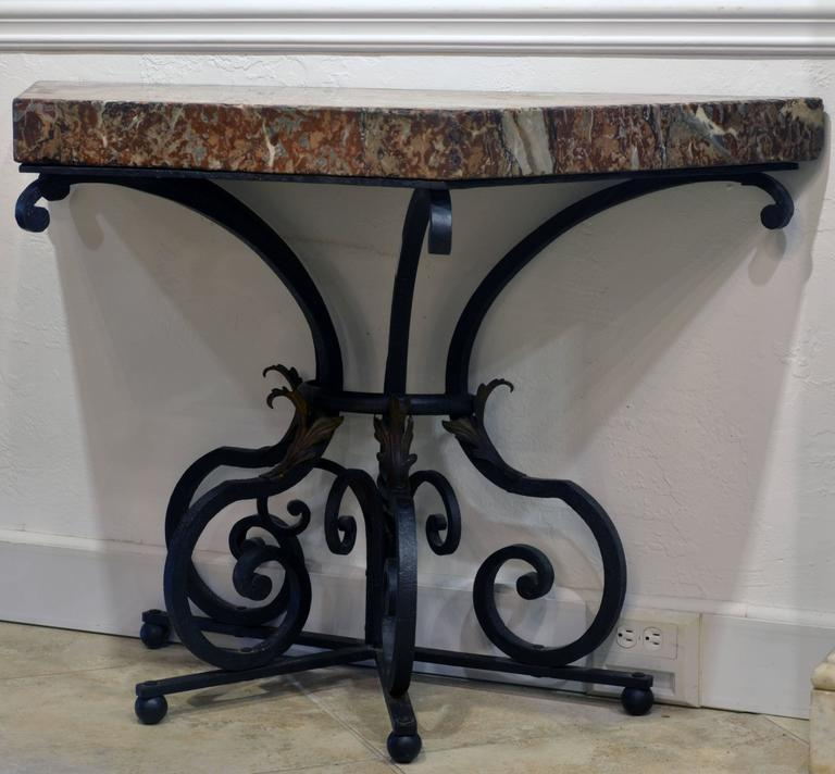 Baroque Revival Pair Of 19th Century French Wrought Iron Trapezoid Marble  Slab Console Tables For Sale