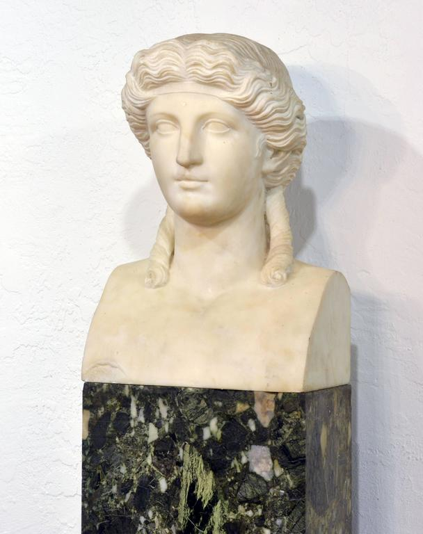 19th Century Italian Neoclassical Marble Bust of Nike on a Tall Marble Column For Sale 1