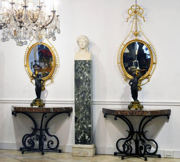 19th Century Italian Neoclassical Marble Bust of Nike on a Tall Marble Column For Sale 7
