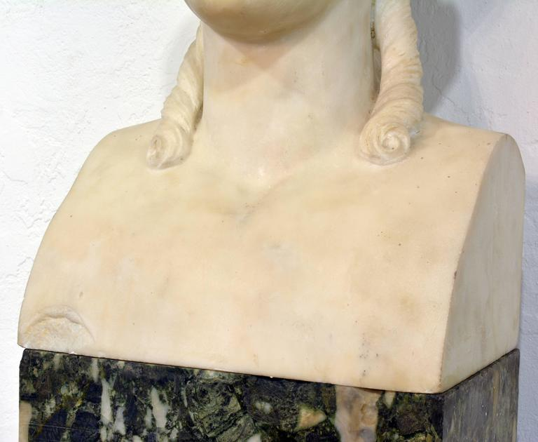 19th Century Italian Neoclassical Marble Bust of Nike on a Tall Marble Column For Sale 4