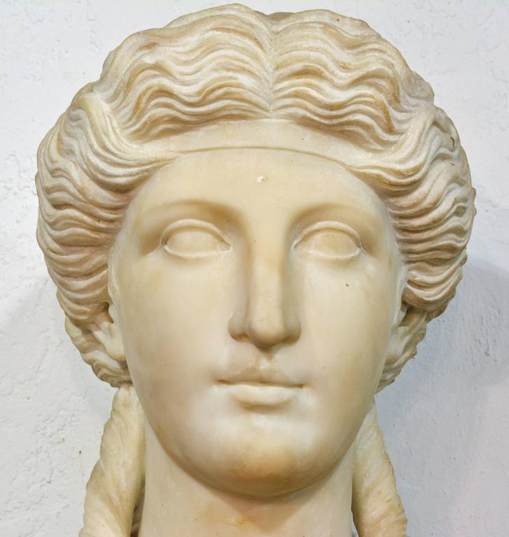 19th Century Italian Neoclassical Marble Bust of Nike on a Tall Marble Column For Sale 3