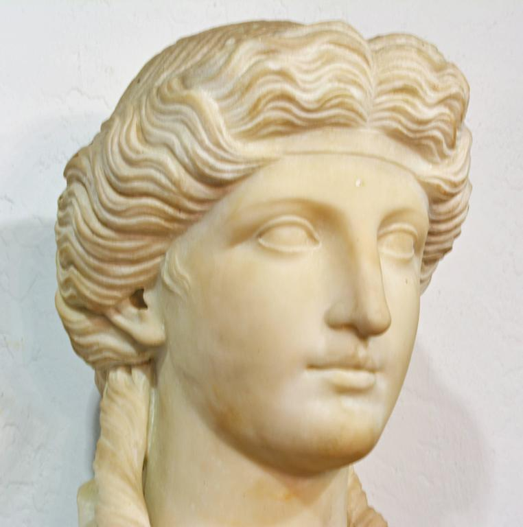 19th Century Italian Neoclassical Marble Bust of Nike on a Tall Marble Column For Sale 2