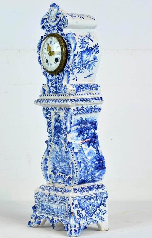 Rococo Revival Charming 19th Century Delft Style Miniature Blue And White Porcelain Tall Clock For