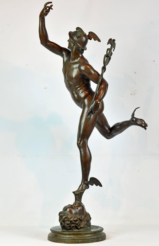 19th Century Giant Bronze Statue Of The Flying Mercury