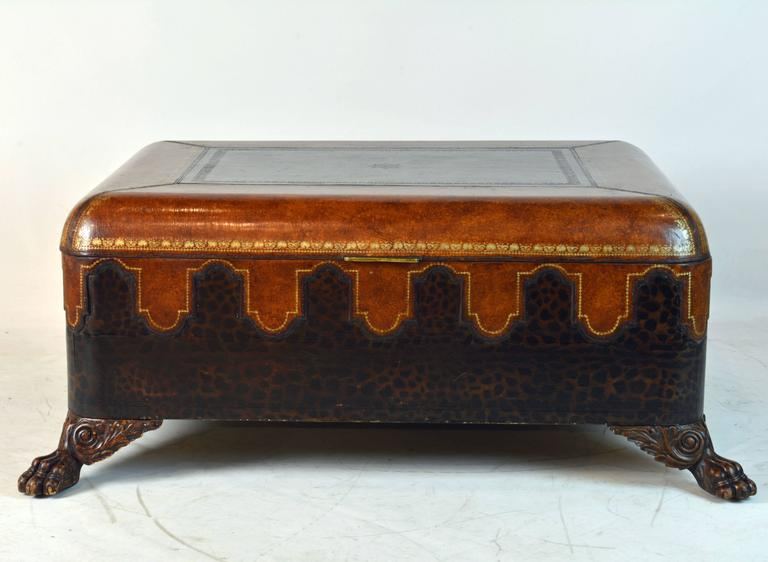 Vintage Maitland Smith Colonial Style Leather Covered Trunk and Coffee Table 2