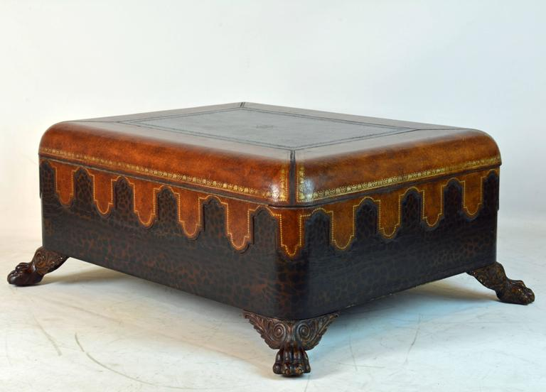 Vintage Maitland Smith Colonial Style Leather Covered Trunk and Coffee Table 3