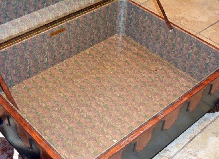 Vintage Maitland Smith Colonial Style Leather Covered Trunk and Coffee Table 9