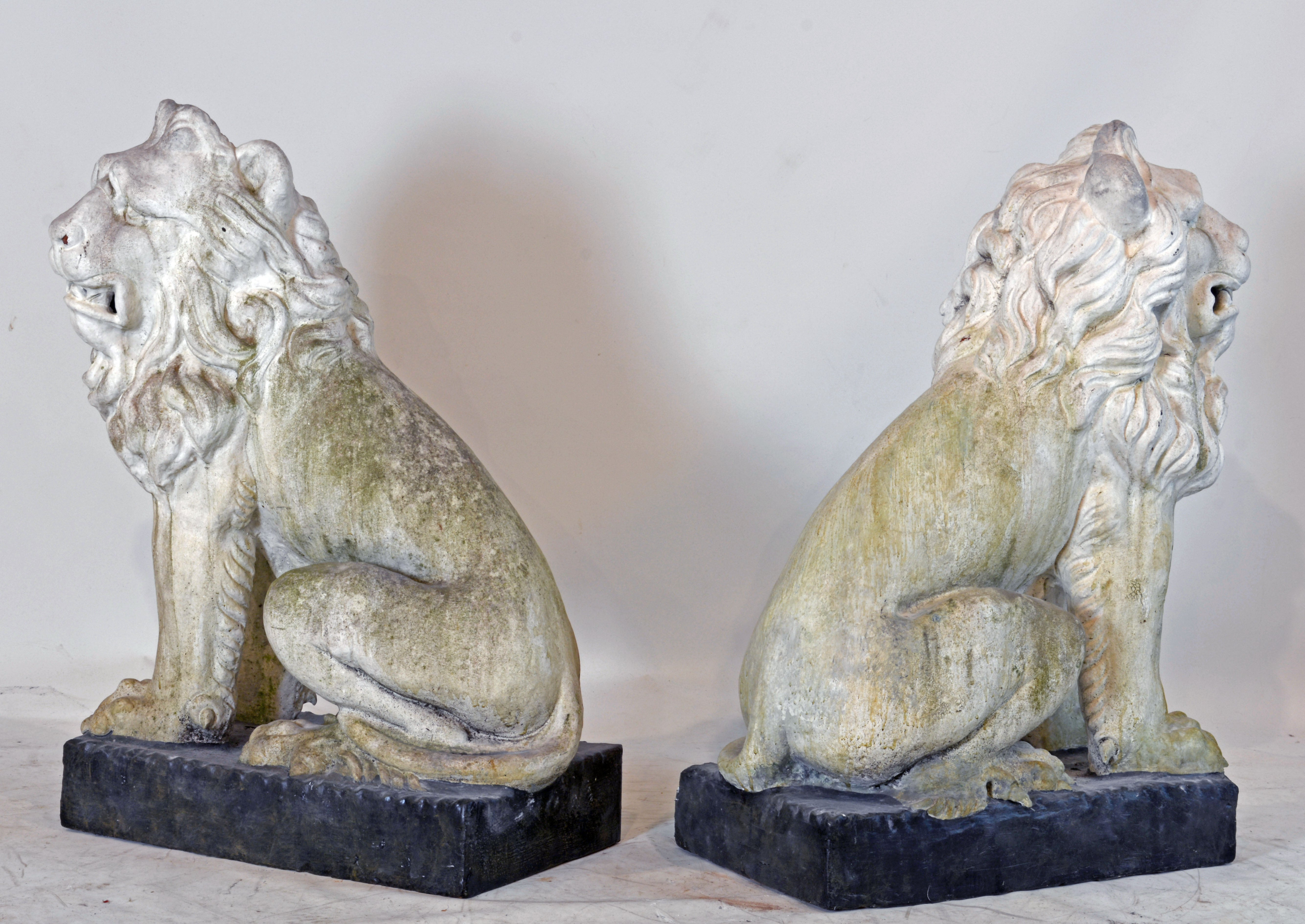 Large Opposing Pair Of 19Th Century French Weathered Terracotta Garden