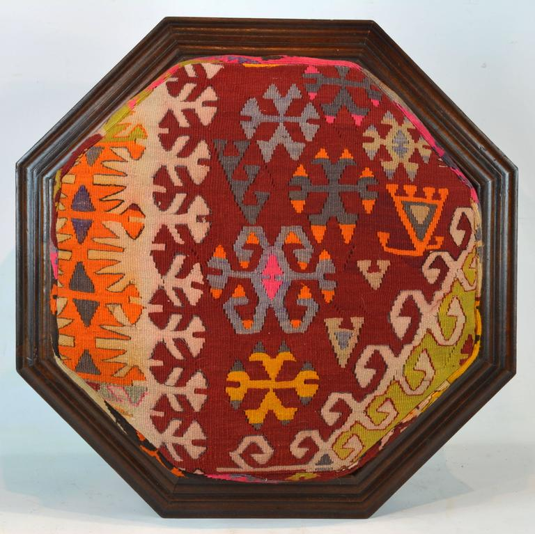 Moorish Upholstered Oriental Style Octagonal Ottoman with Colorful Anatolian Kilim Cover For Sale