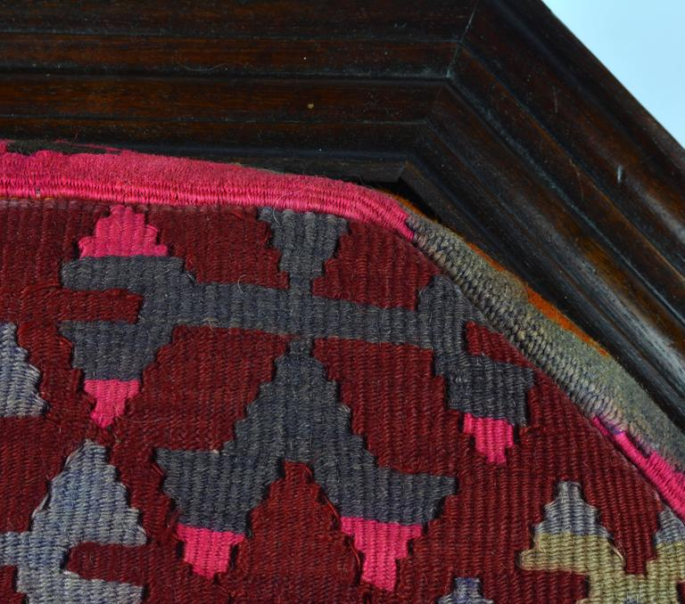 Lacquered Upholstered Oriental Style Octagonal Ottoman with Colorful Anatolian Kilim Cover For Sale