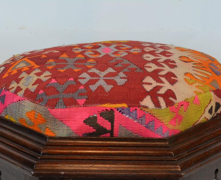 Turkish Upholstered Oriental Style Octagonal Ottoman with Colorful Anatolian Kilim Cover For Sale
