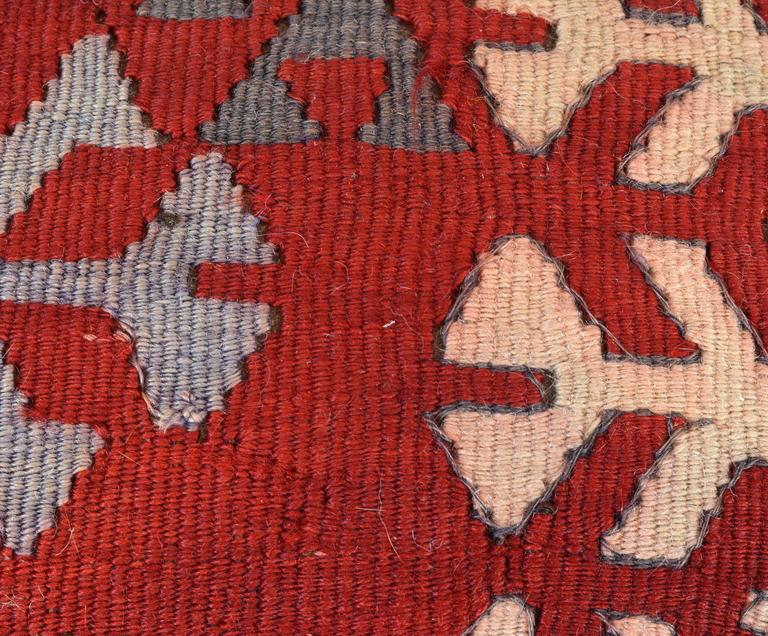 Wool Upholstered Oriental Style Octagonal Ottoman with Colorful Anatolian Kilim Cover For Sale