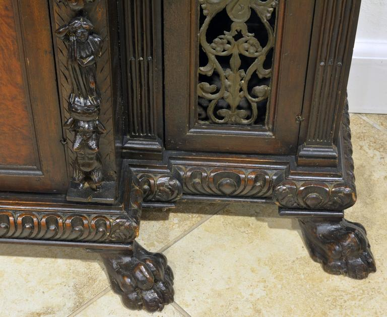 19th Century Italian Renaissance Style Two Part Carved Walnut 'Stipo a Bambocci' For Sale 4