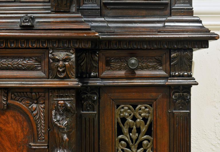 19th Century Italian Renaissance Style Two Part Carved Walnut 'Stipo a Bambocci' For Sale 2