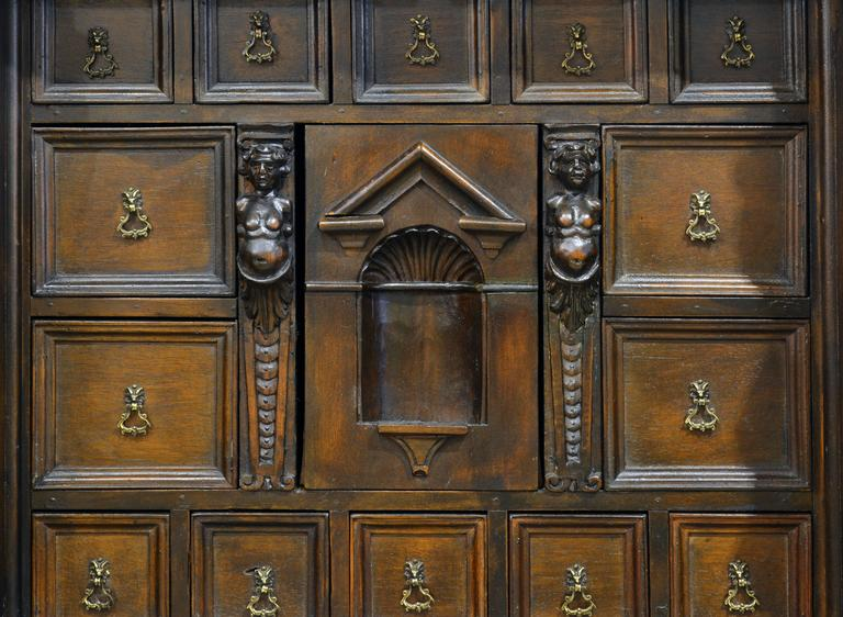 19th Century Italian Renaissance Style Two Part Carved Walnut 'Stipo a Bambocci' For Sale 1