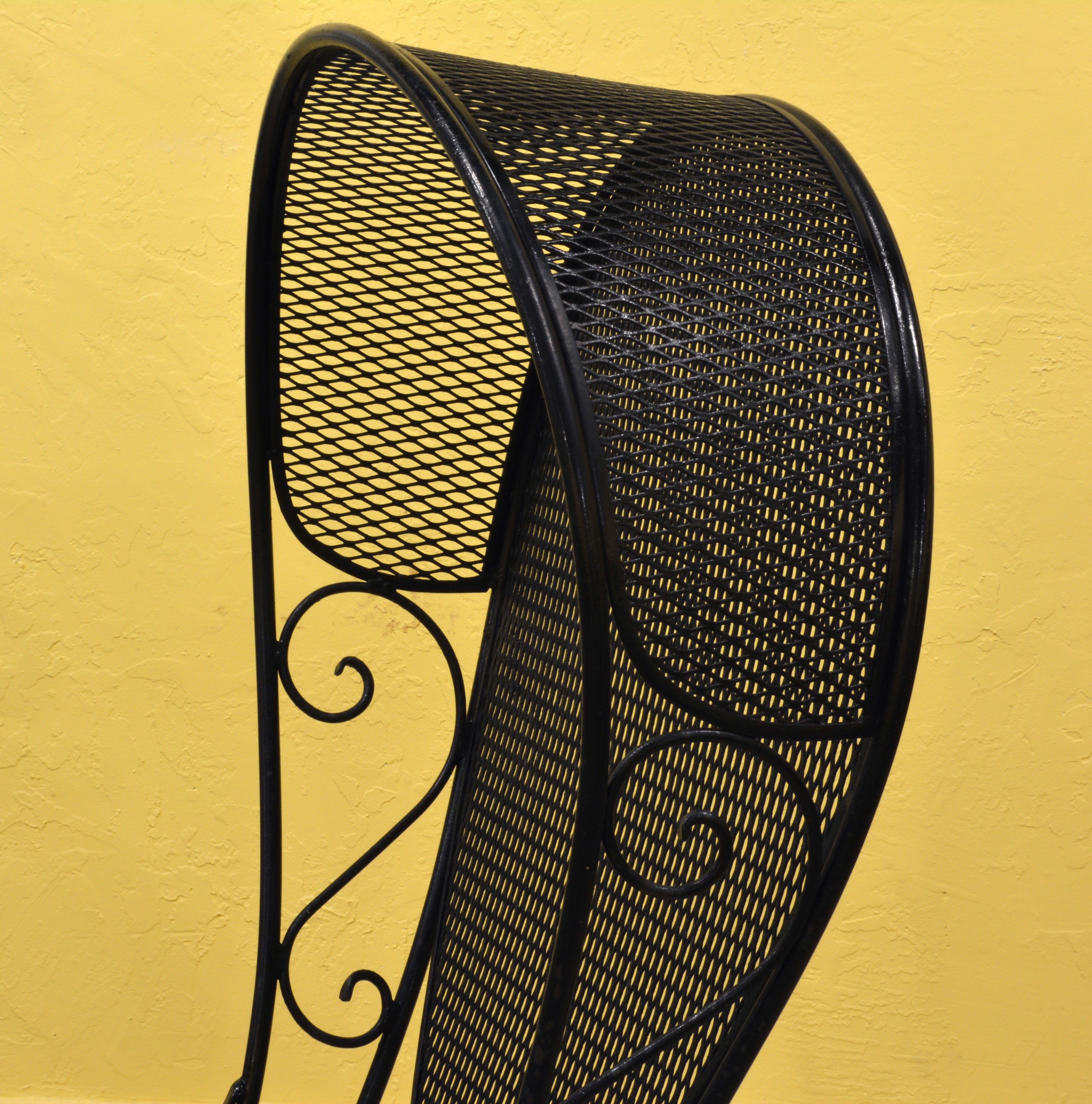 Pair of Woodard Mid-Century Hollywood Regency Wrought Iron and Mesh ...