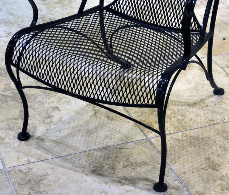 20th Century Pair of Woodard Mid-Century Hollywood Regency Wrought Iron and Mesh Patio Chairs & Pair of Woodard Mid-Century Hollywood Regency Wrought Iron and Mesh ...